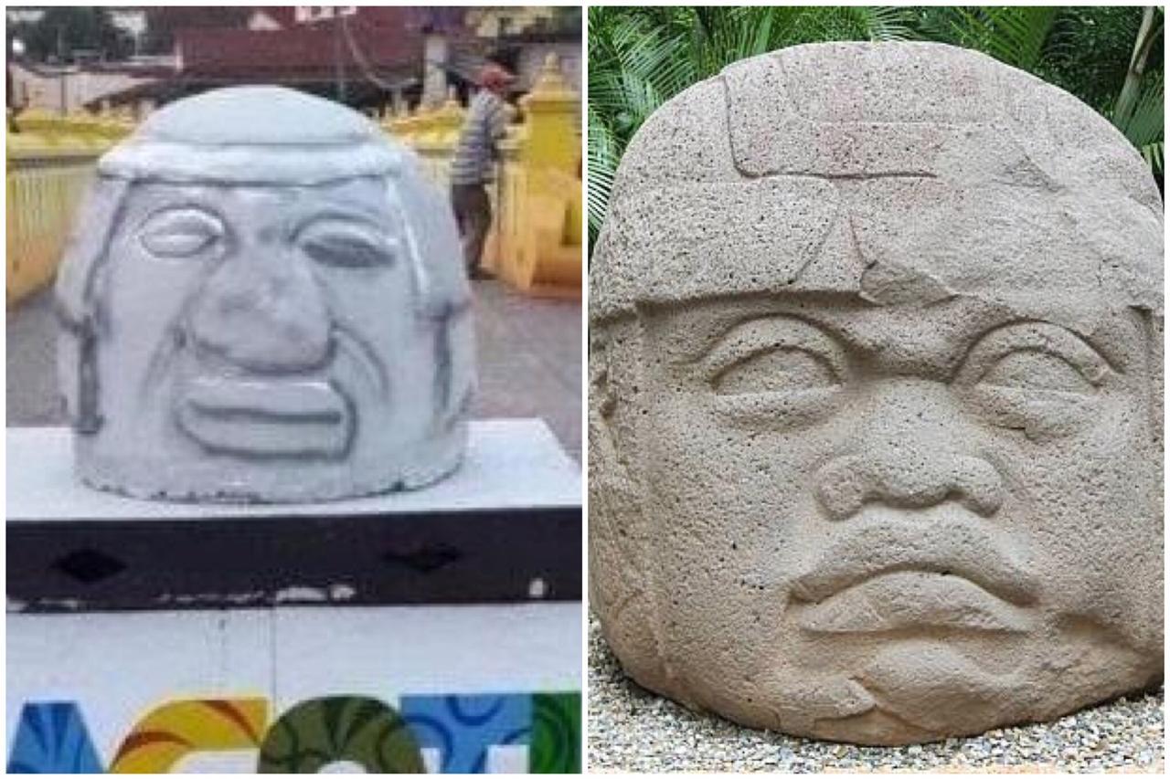 37564e3ad2e Réplica de cabeza olmeca en Veracruz desata burlas en redes sociales ...
